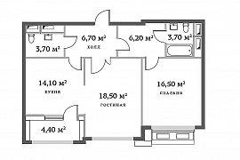Продажа 2-х комнатной квартиры в ЖК РедСайд на ул. Сергея Макеева дом 9 корпус 3 (71,63 кв.м. без отделки на 7 этаже)