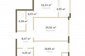 Продажа 3-х комн. квартиры на 2ой Черногрязской д6к4 в ЖК РедСайд (84 метров без отделки на 6 этаже)