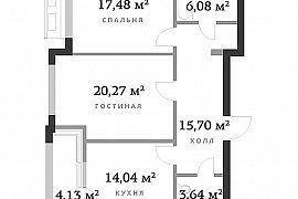 Продажа 2-х комнатной квартиры без отделки на 9 этаже в ЖК RedSide, улица Сергея Макеева, 9к1