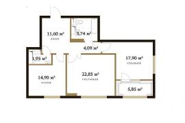 Продажа 2-х комнатной квартиры без отделки 82 кв.м на 8 этаже в ЖК RedSide, улица Сергея Макеева, 9к4