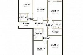 Продажа 4-х комнатной квартиры без отделки 153 кв.м на 5 этаже в ЖК RedSide, 2-я Черногрязская улица, 6к2