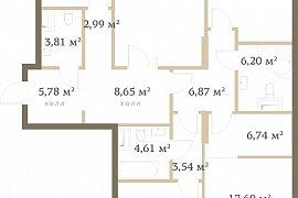 Продажа 4-х комнатной квартиры без отделки 137 кв.м на 15 этаже в ЖК RedSide, 2-я Черногрязская улица, 6к3